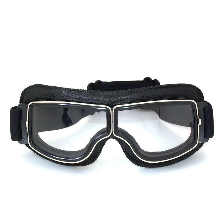 De alta qualidade Da Marca New Moto Cruiser Óculos Moldura preta de Couro da motocicleta óculos de proteção Piloto Do Vintage Óculos de Lente Clara em Óculos de Automóveis & Motos no AliExpress.com | Alibaba Group