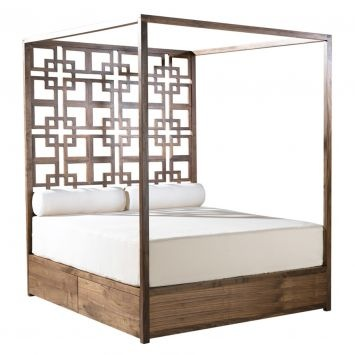 Ariya King Canopy Bed - Walnut By Equator Homewares Crafted by hand, the Ariya King Canopy Bed from Equator Homewares is a unique addition to the bright and breezy bedroom.