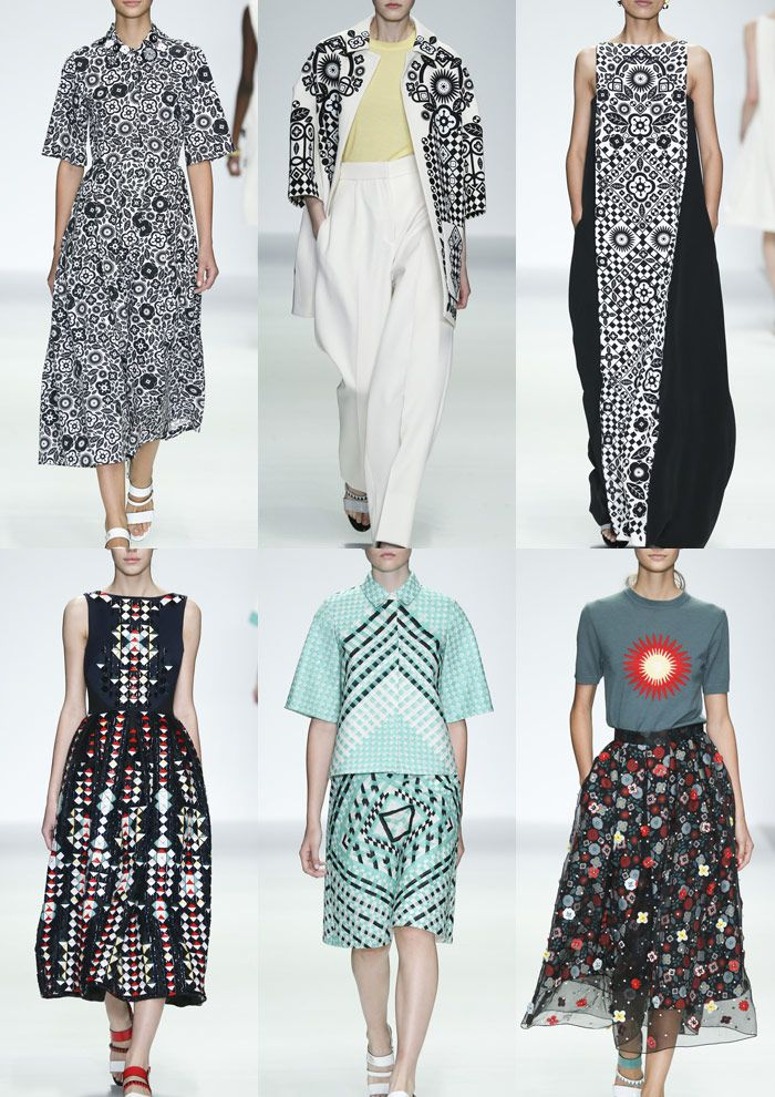 London Womenswear Print Highlights Part 1 – Spring/Summer 2015 catwalks60's Floral Motifs – Folk Inspired – Monochrome Pattern – Floral and Geometric Pattern – Engineered Placements – Morris Dancer Decoration – Checker and Diamond Pattern – Pretty Embellishments – Sunburst Motif
