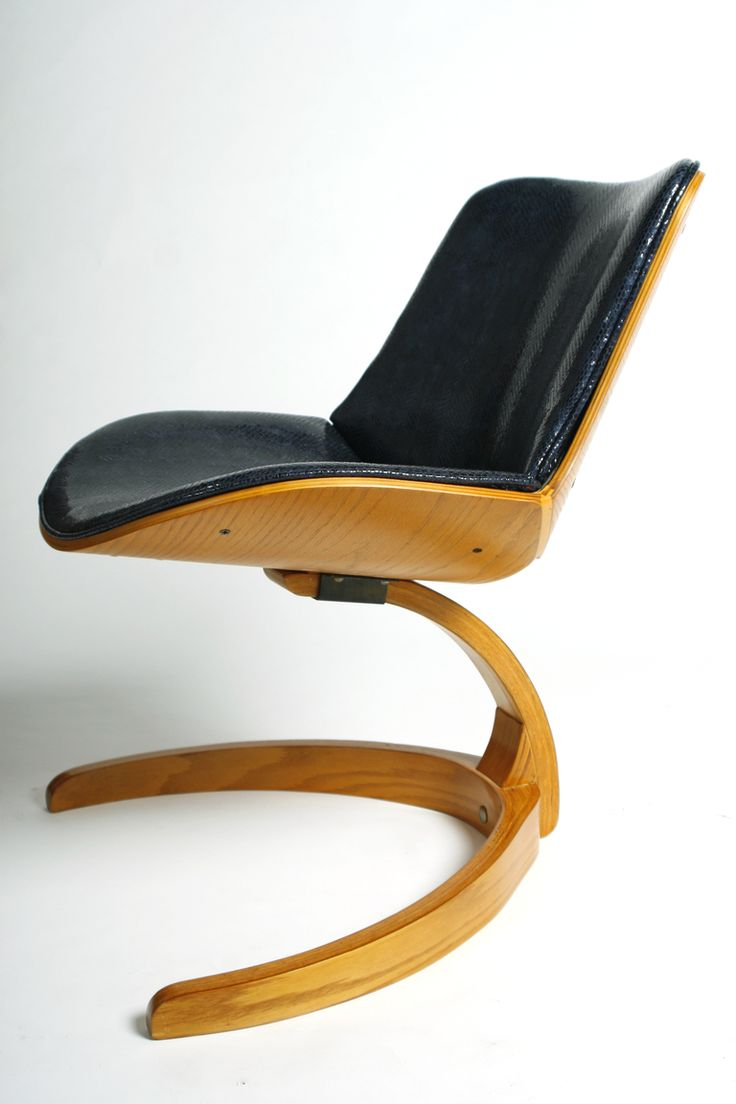 Chair Design   Bent Plywood and Leather Chair   George Mulhauser for Plycraft   1960s