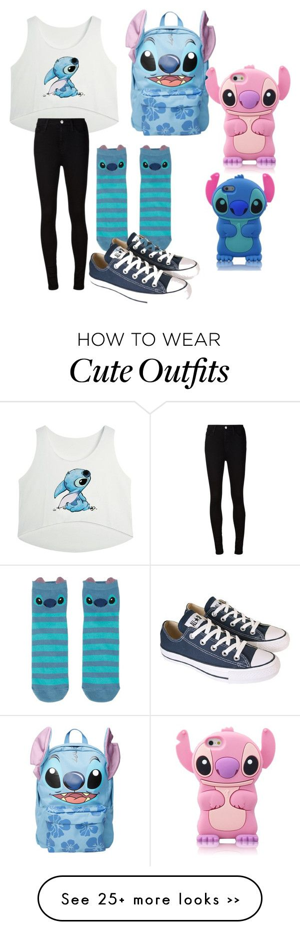 """""""Stitch inspired outfit"""" by hlauritsen on Polyvore featuring Disney, AG Adriano Goldschmied and Converse"""
