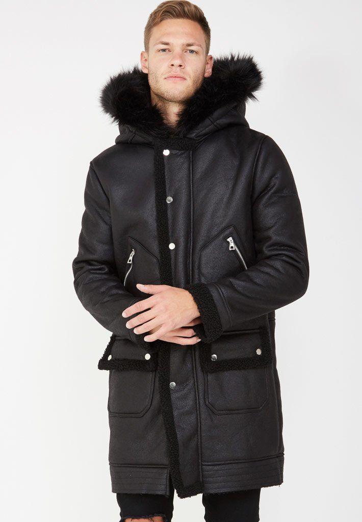 Shearling Parka with Fur Hood - Black