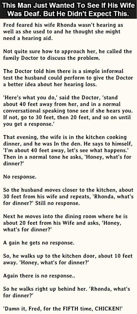 #Man Thinks His #Wife Might Be #Deaf But What Happened Next Was #Amazing #Lol #Funny #Hilarious #DeafJokes #Jokes #FunnyFails