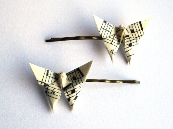 Origami Sheet Music Butterfly Hair Clips two clips
