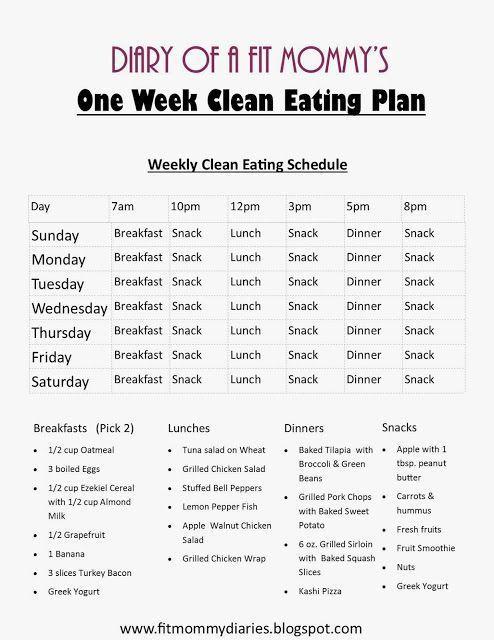 Diary of a Fit Mommy: Diary of a Fit Mommy's One Week Clean Eating Plan fitmommydiaries.blogspot.com loose weight meal plan