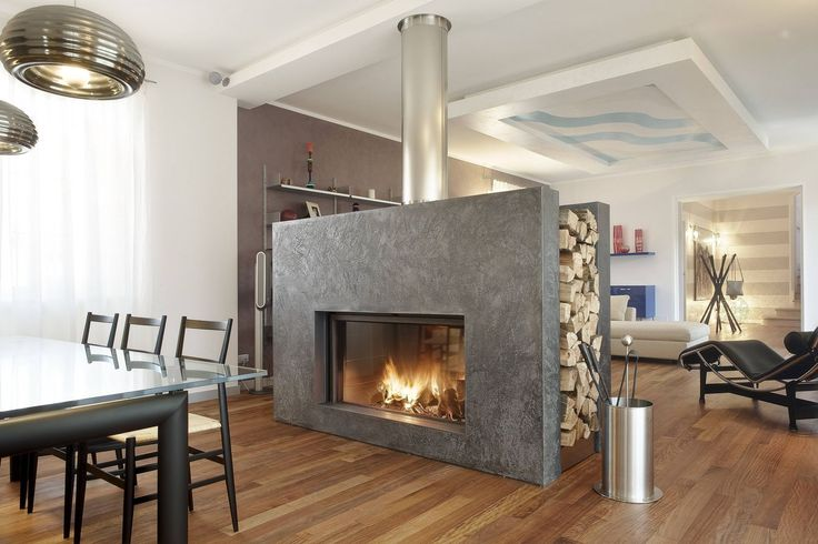 Modern Home Design: Extraordinary Luxurious Double Sided Fireplace Wood Burning Closed Hearth, Hearthmodern Home Design, Luxurious, Extraord...