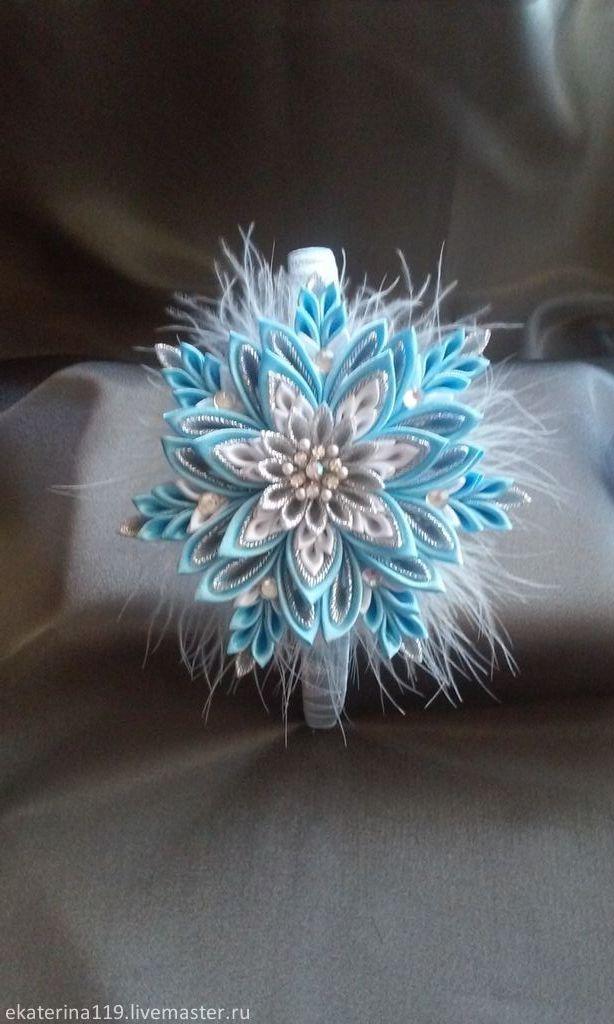 """Купить Новогодний ободок """"Снежинка"""" - голубой, Новый Год, ободок для волос, канзаши, ободок"""