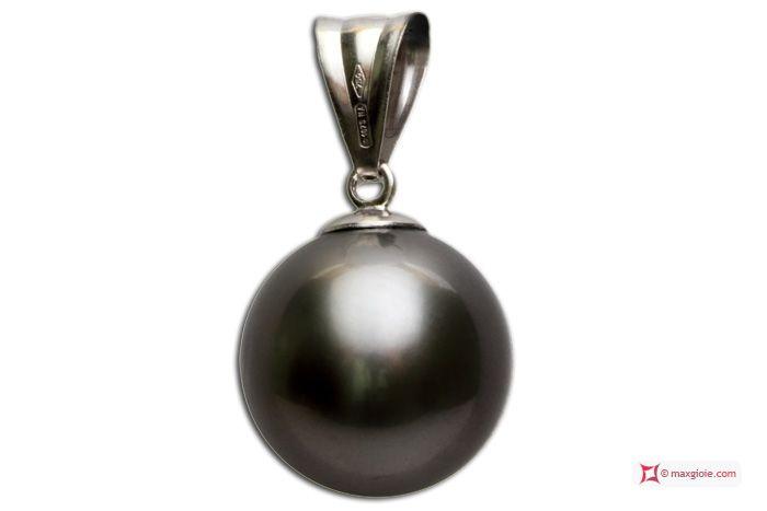 Extra Tahiti Pearl Pendant 12½mm in White Gold 18K Pendente Perle Tahiti Extra 12½mm in Oro 18K