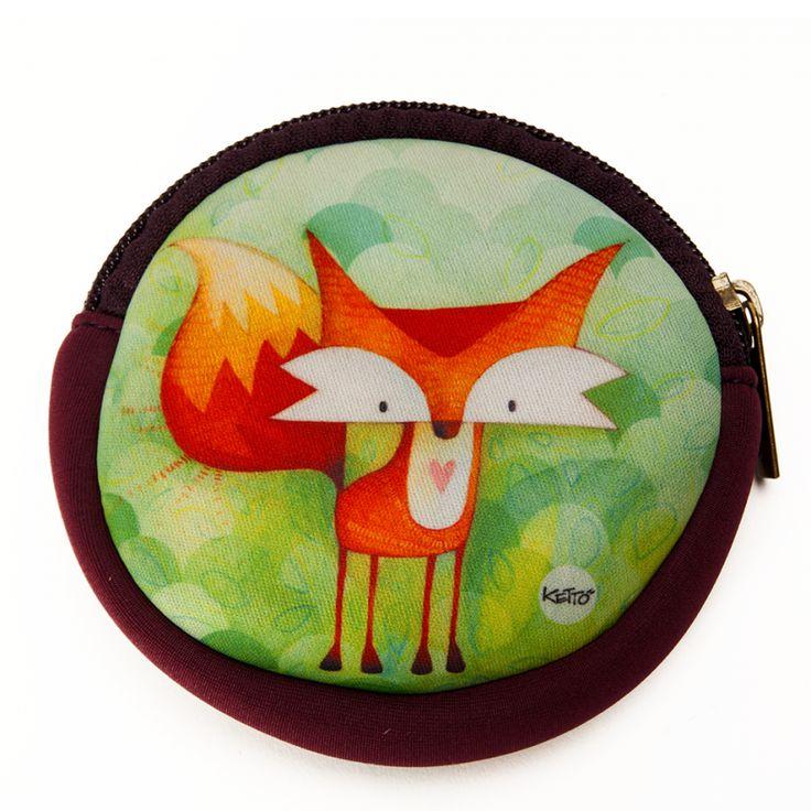 Porte-Monnaie Rond Renard KETTO Round Coin Purse Fox // Porte-monnaie à fermeture éclair. // Coin purse with zipper closure. // #PorteMonnaieRond #RoundCoinPurse #Ketto