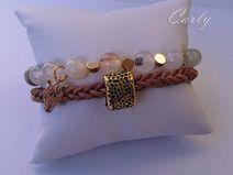Wild Zebra by Carly bransoletka skórzana Agat bracelet Agate stone jewellery