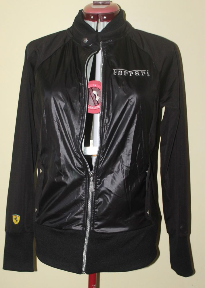Puma Ferrari Vintage  Lightweight Black Womens Jacket Zip Up