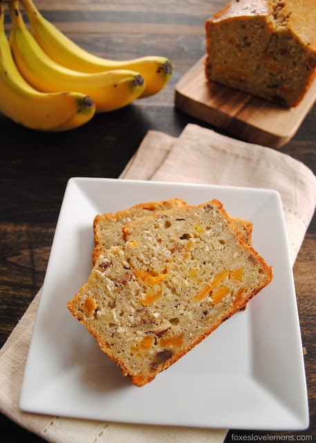 """Who's ready for a tropical vacation? Say """"see ya later"""" to the polar vortex with this Tropical Mango Banana Bourbon Bread - a taste of Hawaii in a slice of bread!: Tropical Mango, Foxeslovelemons With, Mango Breads Recipe, Bourbon Breads, Sweet Tooth, Bananas Breads, Mango Bananas, Bananas Bourbon, Hawaii"""
