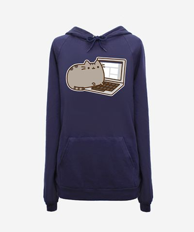 Phat Fat Cat, on a laptop. too cute!!!! Blogger Pusheen hoodie (unisex) - Hey Chickadee