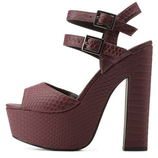 Charlotte Russe Burgundy Snake-Textured Chunky Platform Heels by... ($39) ❤ liked on Polyvore featuring shoes, burgundy, strappy shoes, snake shoes, platform shoes, strap shoes and burgundy shoes