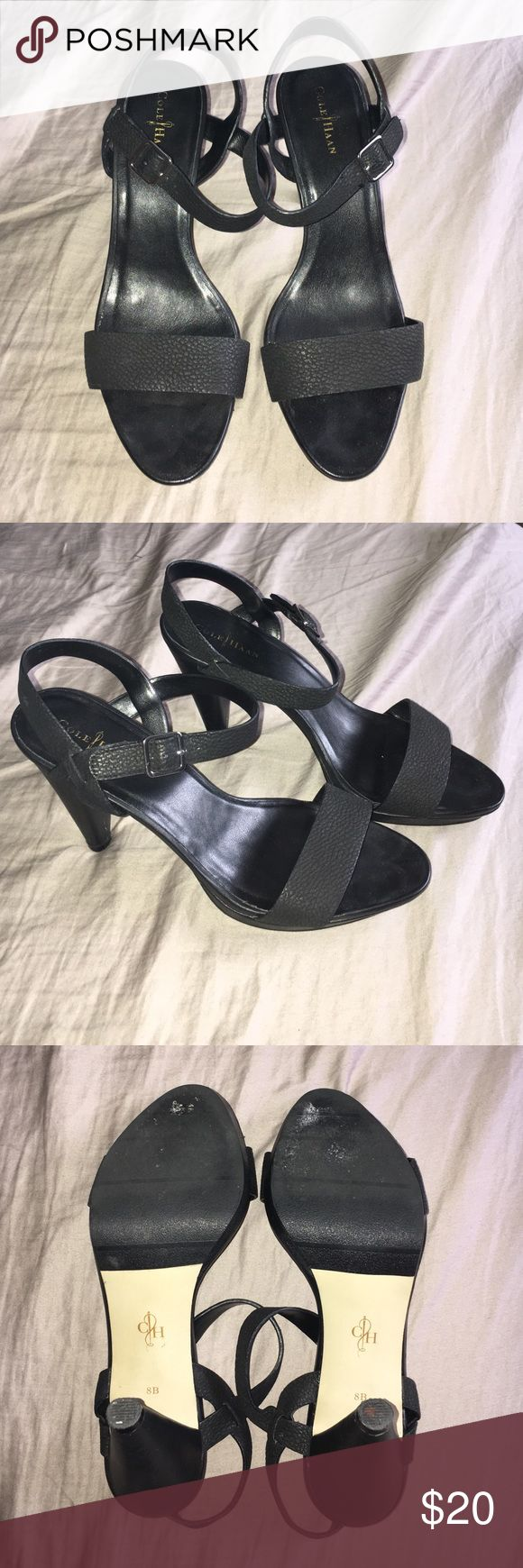 """Cole Haan heels Black leather heels. About 4"""" heel. Bought these from another posher and they were spotless. I'm so sad that they didn't fit me snug enough. I'm typically a 7 1/2. I wore these once to work for an 8 HR shift and they were completely comfortable. If anyone sees these in a 7 1/2 please tag me! They are in gently used condition. Minor scuffs on right side of shoe, not even noticeable once the shoes are on. See last pic. Price reflects the price I paid plus shipping. Cole Haan…"""