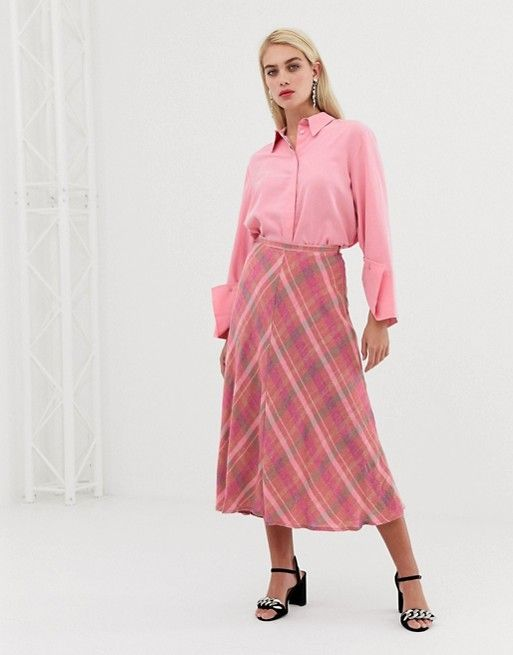 062e9400f Mango check midi skirt in Pink in 2019 | Style | Midi skirt, Skirts, Pink  fashion