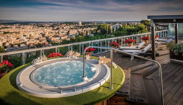 Jacuzzi at Rome Cavalieri (Courtesy Waldorf Astoria) Luxury Rome Hotels Perfect for Families