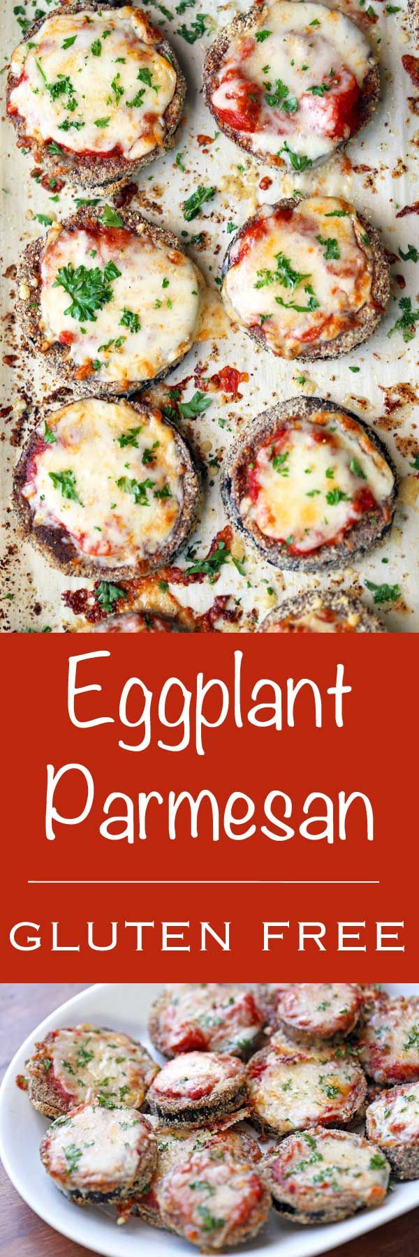 An easy recipe for healthy and gluten free eggplant Parmesan. No need for frying! This eggplant Parmesan is baked in your oven.