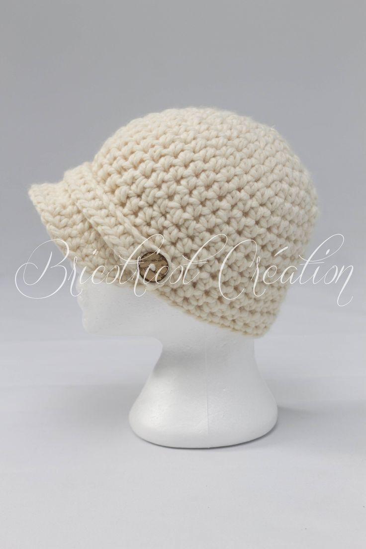 Cliquez pour voir cette magnifique casquette fait au crochet pour adulte! #chapeau #hat #crochet $32