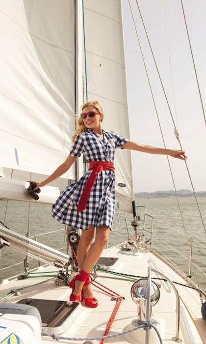 sailing: Summer Dresses, Gingham Shirts, Red Shoes, Shabby Apples, White Gingham, The Dresses, Gingham Dresses, Sailing Boats, Blue And White