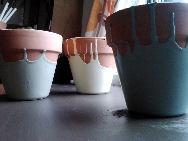 Painted Terra Cotta Pots. Paint them upside down :)                                                                                                                                                     More