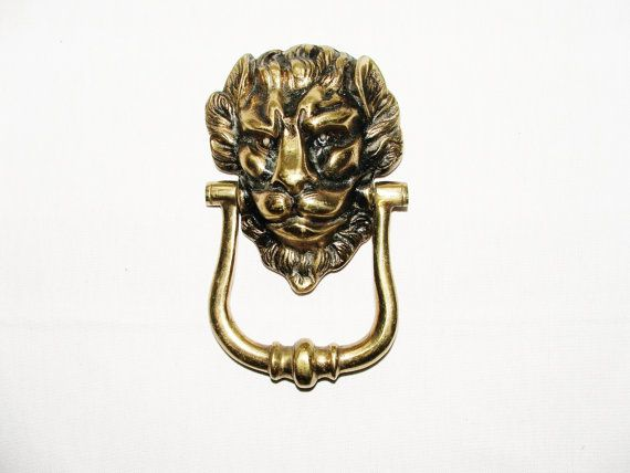 Lion head brass vintage door knocker. by Fabvintage1 on Etsy, £25.00