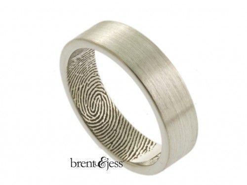 Nice Fingerprint Ring With A Fingertip Print On The Inside Unique Custom Wedding Ring Design