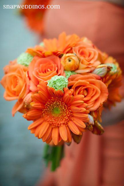 Flowers...Stoneblossom Florals' Orange Gerber Daisies and Roses Bouquet ~ Orange arrangements symbolize energy and warmth.