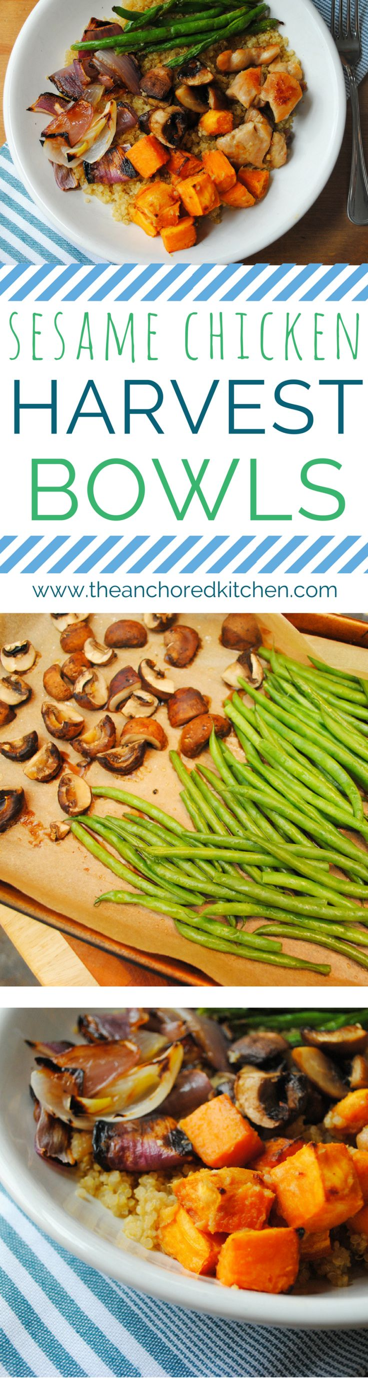 Sesame Chicken Harvest Bowls - The Anchored Kitchen #sheetpan #sesame #chickendinners #easydinners #asianflavors