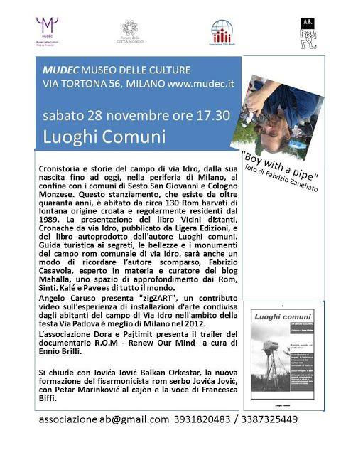 DIRITTI E CULTURA DI ROM E SINTI: 28/11 LUOGHI COMUNI (ricordando Fabrizio Casavola)...