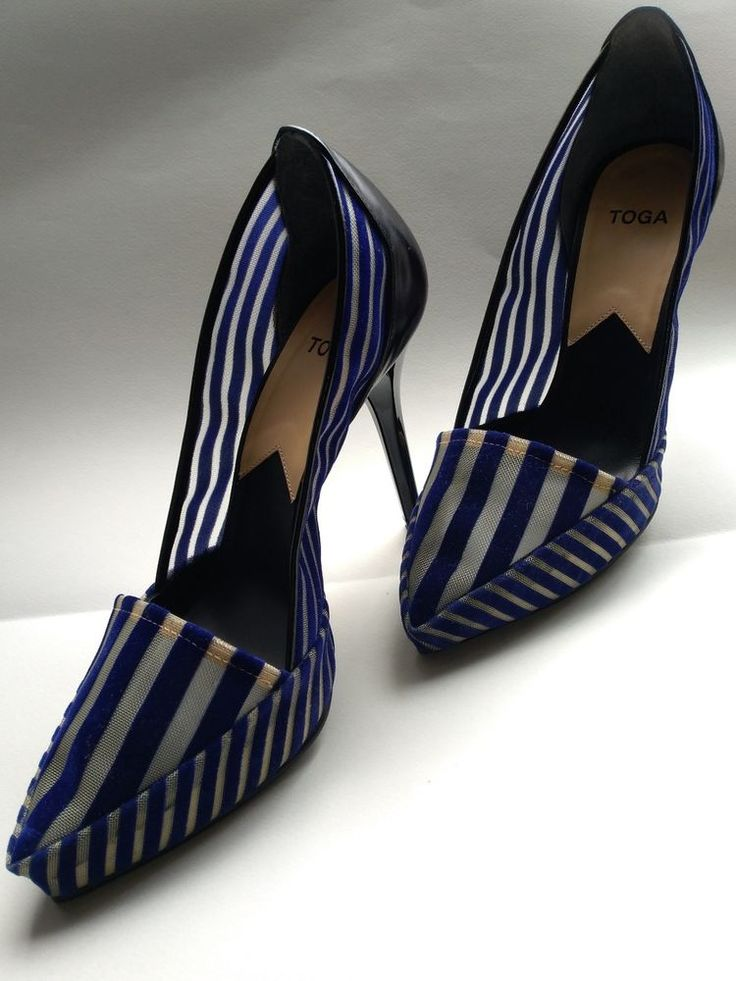 Stunning TOGA Archives Blue Striped High Heel Pumps size 38, originally $225 #TOGAArchives #PumpsClassics