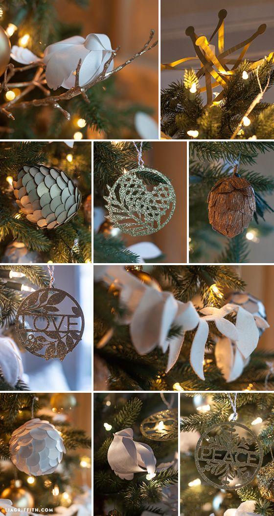 Handmade Ornaments for my Woodland inspired Holiday tree.  #diychristmas #holiday #christmastree