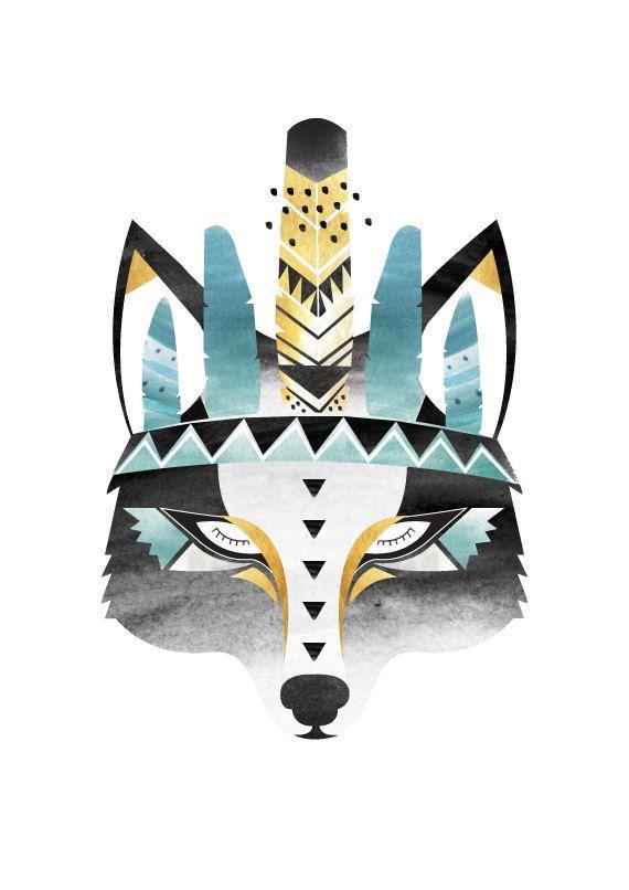 Impression de loup indienne Boho. Aquarelle / par HelloPants