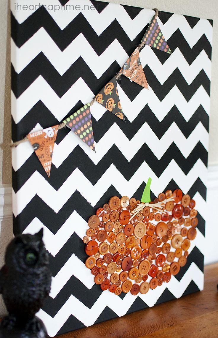 chevron canvas with button pumpkin DIY