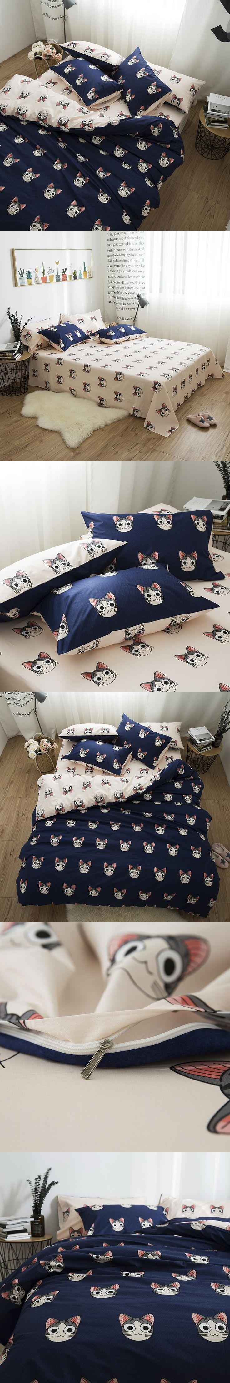 Cute cats kawaii Bedding set king queen twin size kids boys bed room ser 100%cotton duvet cover set bed sheet set pillowcase
