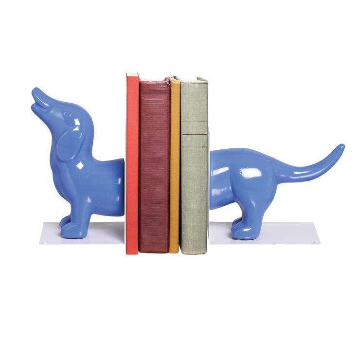 Apoiador de livros Cachorro Decorativo. Peça decorativa em cerâmica para livros que imita um cão na cor azul brilhante.
