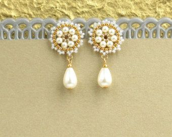 Pendientes de novia vintage, pendientes novia, aretes de Dama de honor, formales pendientes, pendientes del perno prisionero, pendientes de perlas oro