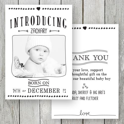 Photo Birth Announcement / Baby Thank You card printed on beautiful, quality double sided cardstock by Peach Perfect Australia.