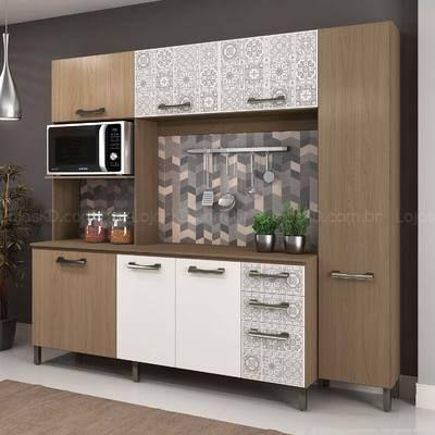 Cozinha Compacta 7 Portas, 3 Gavetas e Espaço para Micro-ondas Sense Sem Bancada Nature/Branco/Azulejo - Kappesberg