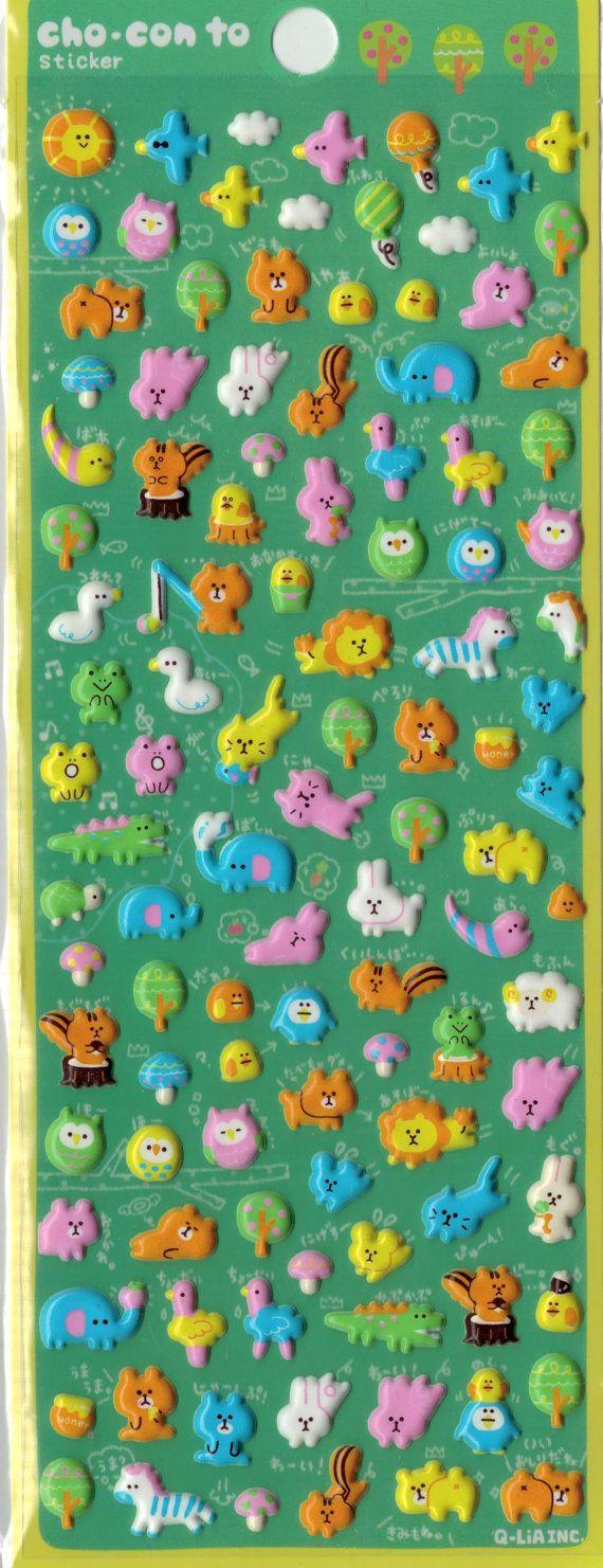 Kawaii Japan Aufkleber Blatt einzusortieren: BIRTHDAY PARTY Tiere Mini geschwollene Aufkleber von Crux   Andere Mini geschwollene Aufkleber https://www.etsy.com/shop/mautio/search?search_query=mini+puffy&order=date_desc&view_type=gallery&ref=shop_search  Die Aufkleber sind über klein genug, um auf einem kleinen Fingernagel passen. Größenvergleich mit US-Quarter-Münze wird angezeigt.  Über 100 Sticker von hochwertigen Glanz beenden gesch...