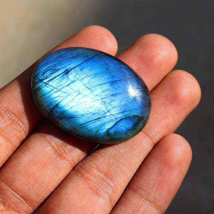 1Pcs 94Cts. 42X30mm 100%Natural AAA+++ Labradorite Blue Fire Oval Rare Gemstone #Unbranded