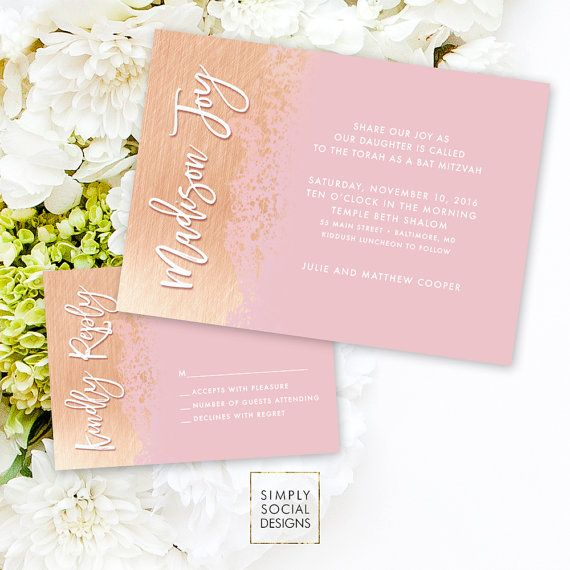 Bat Mitzvah Invitation Suite - Faux Rose Gold Foil Blush Pink Reply Card Invitation Printable Gold Dipped Modern Calligraphy Bas Mitzvah