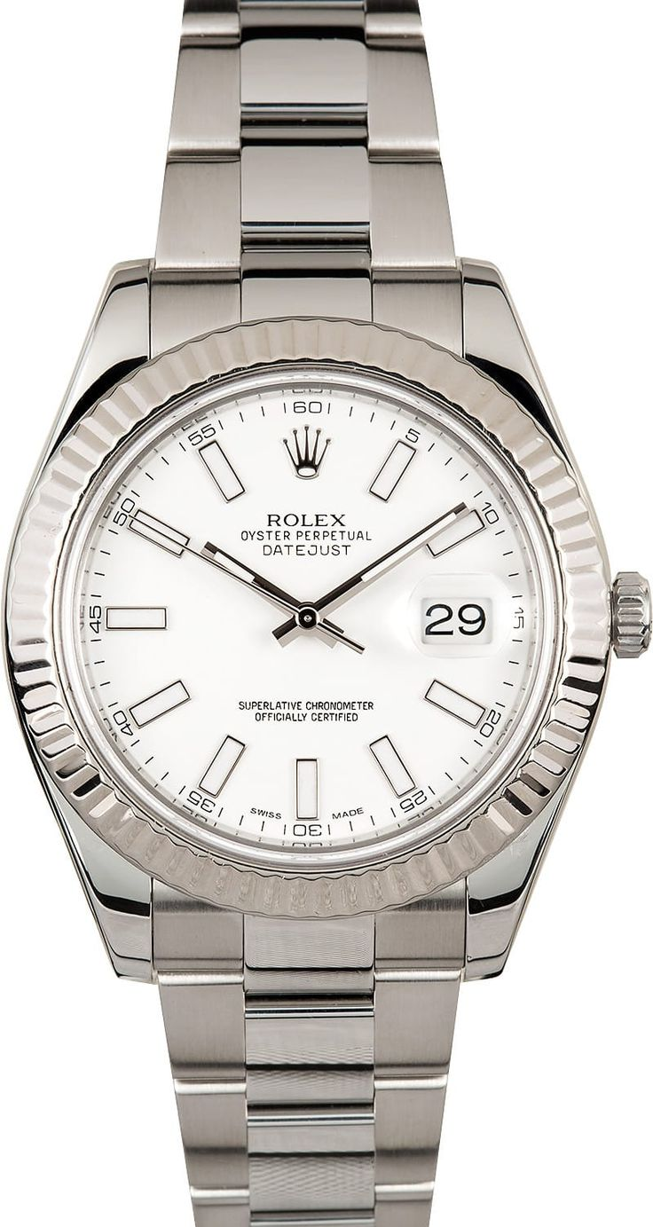 Manufacturer: Rolex Model Name/Number: Datejust II 116334 Serial/Year: Random - 2011 or newer Grade: (What's This?) II Gender: Men's Features: Automatic 3136 movement w/ date, 31 jewels, Quickset, scratch-resistant sapphire crystal, waterproof screw-down crown, inner reflector ring engraved w/ serial number Case: Stainless steel w/ 18k white gold fluted bezel, 41 mm Dial: White w/ luminous hour markers Bracelet: Stainless Steel Oyster w&#x...