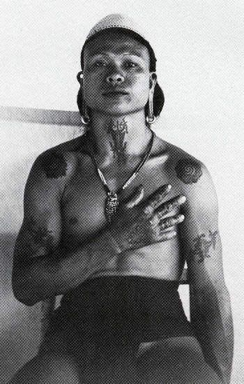 A Kenyah man tattooed in the custom of the Ibans, sourced from http://www.vanishingtattoo.com/borneo_tattoos.htm