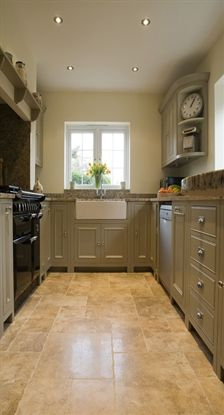 Galley kitchen, great use of space. Neptune Chichester kitchen Kit Stone.
