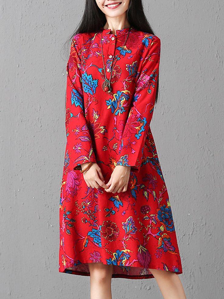 Vintage Floral Print Loose Long Sleeve O-neck Dresses For Women