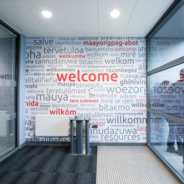 International Welcome Wall Mural (Laminated) in Office by Vinyl Impression