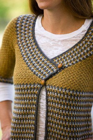 The neckline of this crochet sweater is stunning. Riverstone Crochet Cardigan