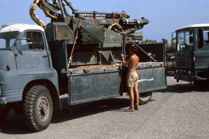 A Bloodhound missile launcher of 112 Squadron in Cyprus being transported back to the UK (July/August 1975)