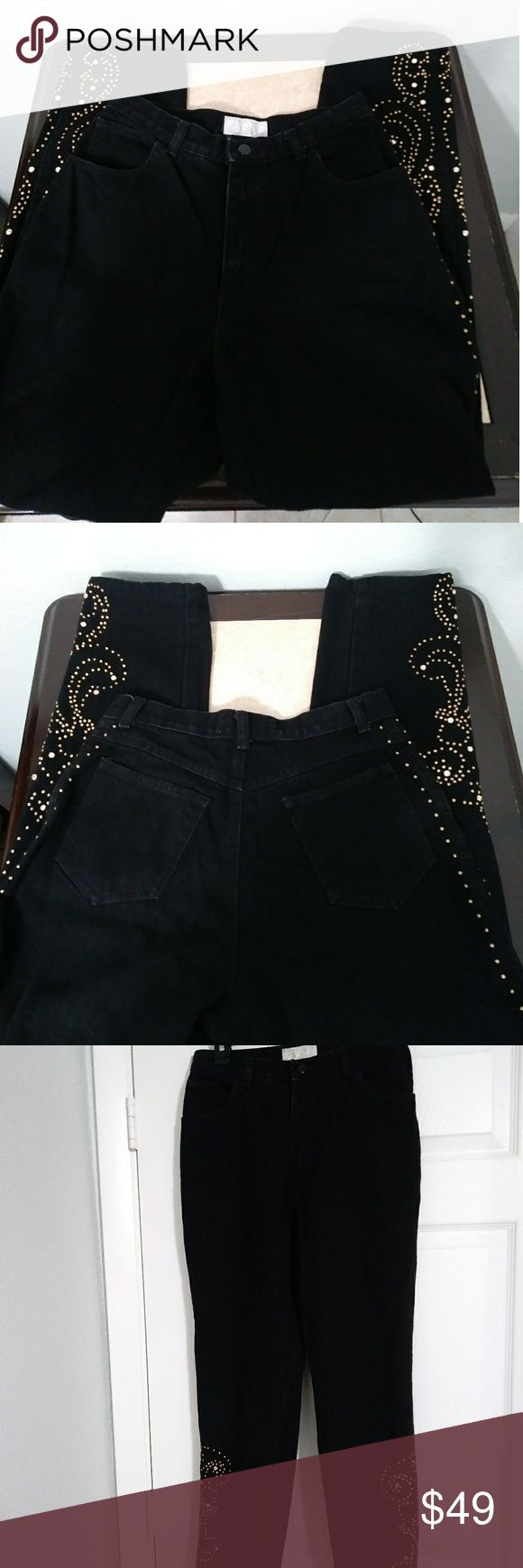 "Cache Embellished Jeans EUC. Black jeans heavily embellished with goldtone studs and sparkly rivets. All studs and rivets intact. Edgy, rocker style. Straight Leg. Flat-Lay Measurements: Waist - 14"", Rise - 10"", Inseam - 29"". Cache Jeans Straight Leg"